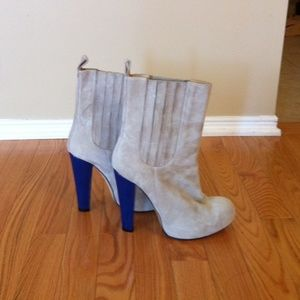 Carven Suede Boots with Electric Blue Heel
